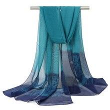 color gradual chiffon long scarfs shawls capes summer capes head wear stole muffler silk scarves long bufanda mujer