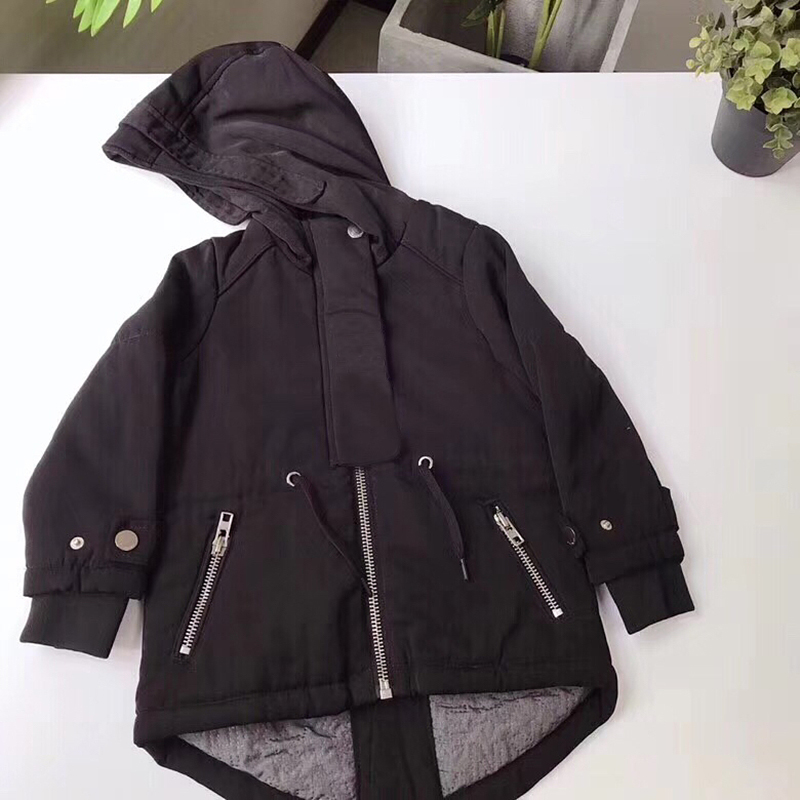 Children Black Hooded Jackets For Boys Girls Outerwear Hoodie Baby Jacket Windbreaker Children's Clothes in middle of October цены онлайн