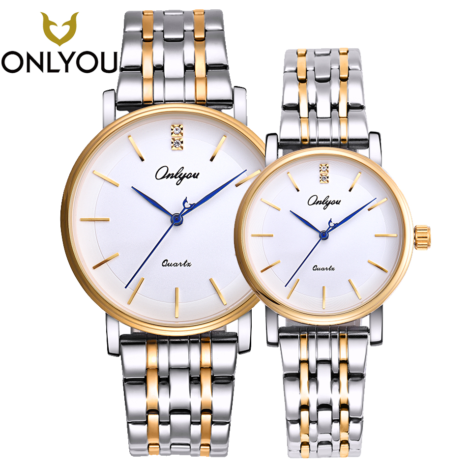 ONLYOU Lover Quartz Wristwatch Couple Top Brand Luxury Men Stainless Steel Watches Simple Women Dress Business Clock Lover Gift