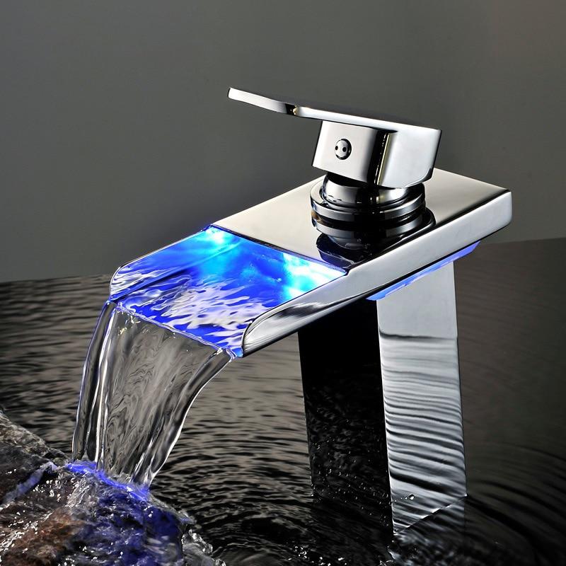 BAKALA Chrome Waterfall Basin Faucet LED waterpower Electricity generation Luminescence Water tap For Bathroom LED-501 infos bathroom led waterfall water tap