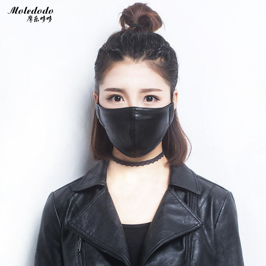 Moledodo 1PC Mouth Mask Dust PU Material Adult Anti Haze Waterproof Mask Fashion Style Anti-dust Cycling Black Mouth Masks D50
