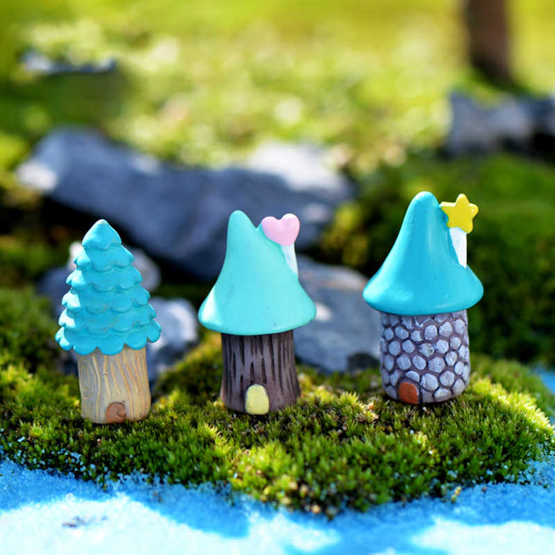 3pcs/Set Blue Red Fairy Garden House Miniature Craft  Micro Landscaping Bonsai decoration