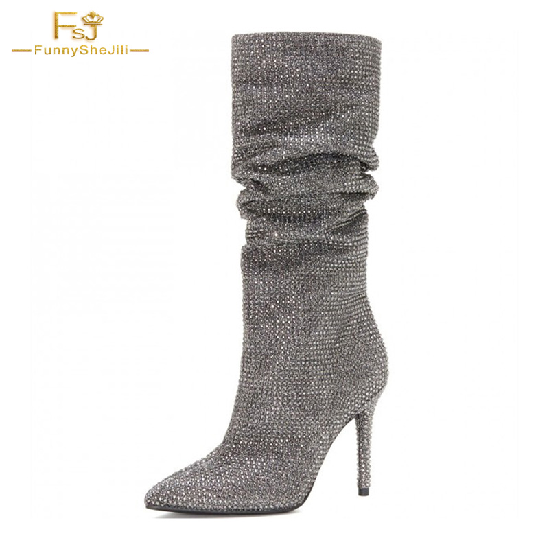6237129c020 Genuine Leather Spring Silver Slouch Boots Pointed toe Strass Hotfix  Stiletto Booties Bling Crystal Designer Women Shoes FSJ-in Mid-Calf Boots  from Shoes on ...