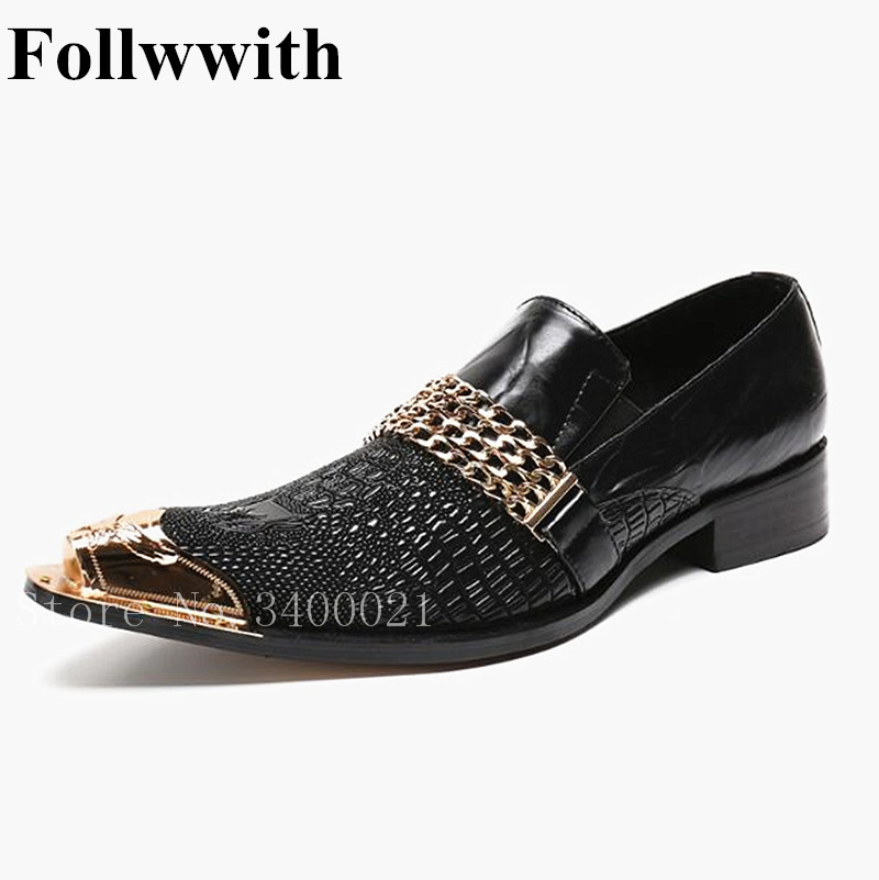 2018 Follwwith Brand Gold Metal Chain Decor Pointed Toe Handmade Men Shoes Top Qulaity  Leather Wedding Party Loafers Men 2015 qulaity mardrid 14 15 3 men