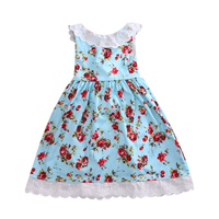 New Kids Wedding Pageant Bridesmaid Party Birthday Dance Flower lace o-neck sleeveless back bowknot Girl Dresses 2-7Y