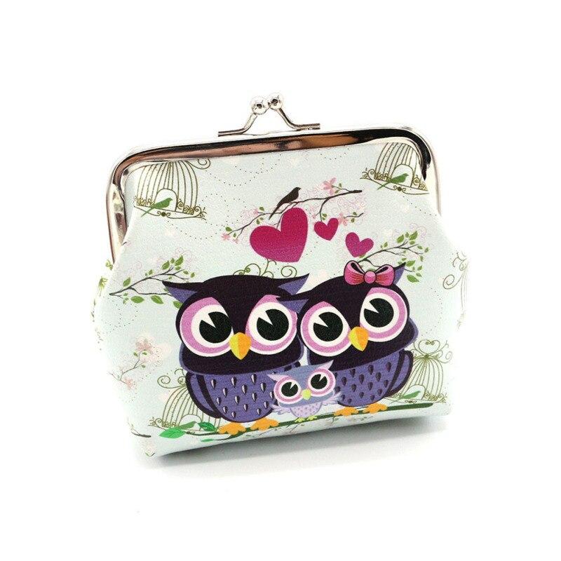 Cute Cartoon Owl and Leopard Pattern Printing Coin Wallet Fashion Female Retro Ladies Clutch Change Purse Kid Gift Women Handbag