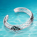 925 esterlina pulseira de prata Coréia Do Sul as mulheres jóia da forma oca-out padrão decorativo. superfície do bojo. novo estilo.