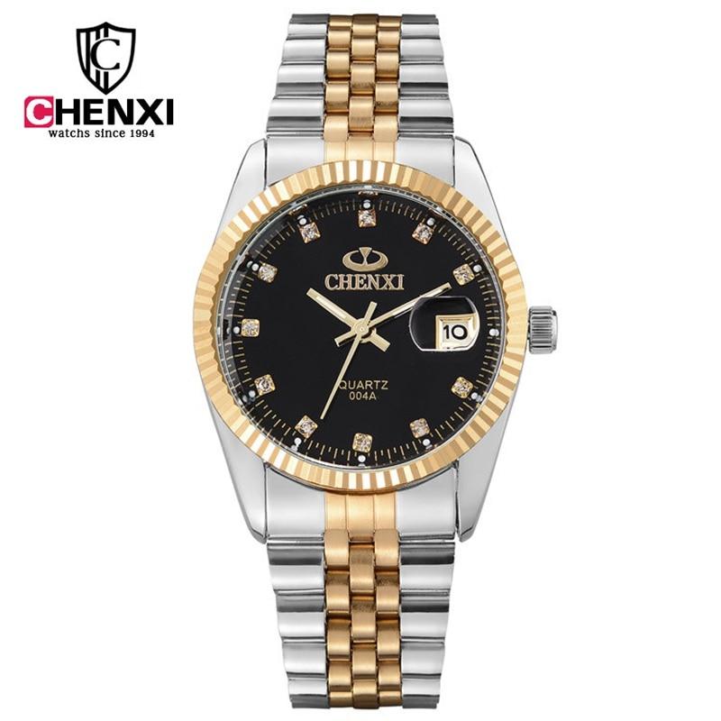 2d0f962aae0 Marca CHENXI Homens Relógios de Luxo de Prata de Ouro relógio de Pulso do  Negócio Calendário Masculino Strass Vestido De Quartzo-relógio relogio  masculino