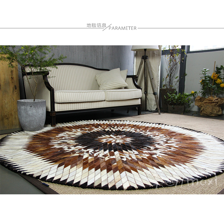 2017 Free Shipping 100 Natural Genuine Cow Leather Rug Round