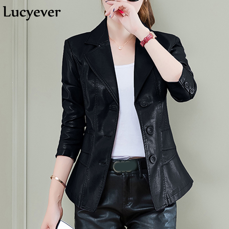 Lucyever Plus Size Women Faux   Leather   Jacket Outerwear Autumn Long Sleeve Motorcycle PU Coat Fashion Single Breasted Black Coat