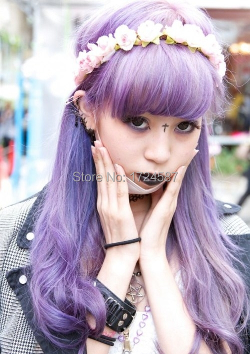 Black Purple Ombre Wig Party Girls Hair Stylish Harajuku -4836