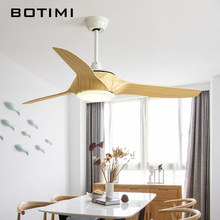 BOTIMI 3 Blades 220V LED Ceiling Fan For Living Room Ventilador de techo Nordic Ceiling fans with Lights Remote Control(China)