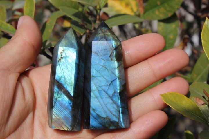 2pcs Natural labradorite obelisk quartz crystal wand point healing