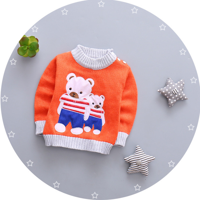 new 2016 baby girls boys autumn/winter wear warm cartoon sweaters children pullovers outerwear Bear sweater for Newborn Q192