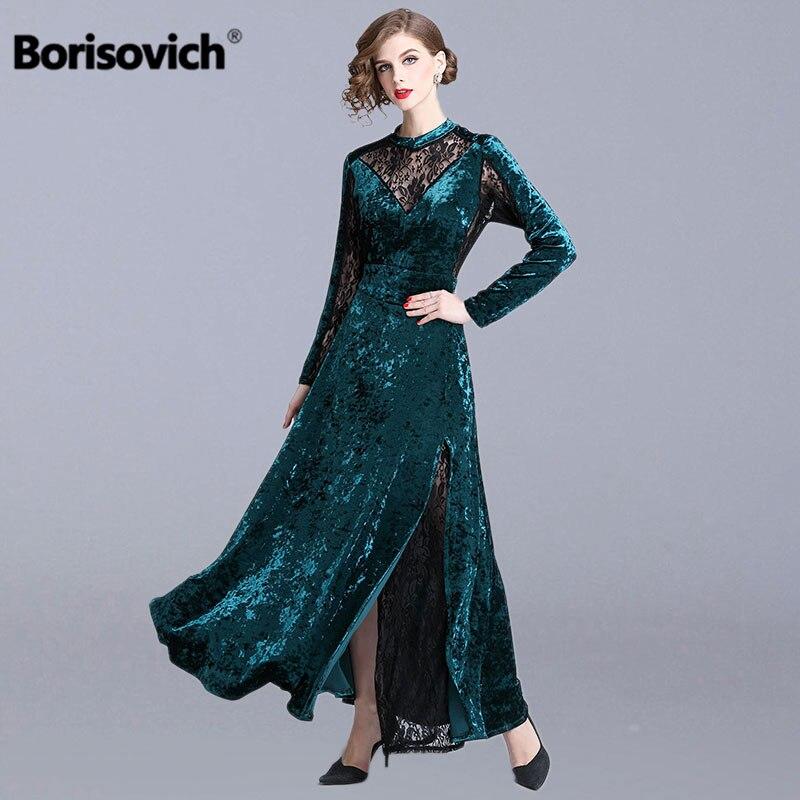 Borisovich dames robes de soirée nouveau 2019 printemps mode angleterre Style grand Swing a-ligne élégante femmes longue robe N415