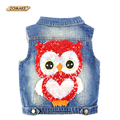 Kids Vest Fashion Sequins Owl Children Denim Vests Ripped Boys and Girls Ripped Waistcoat Cowboy Baby Clothes Outerwear & Coats