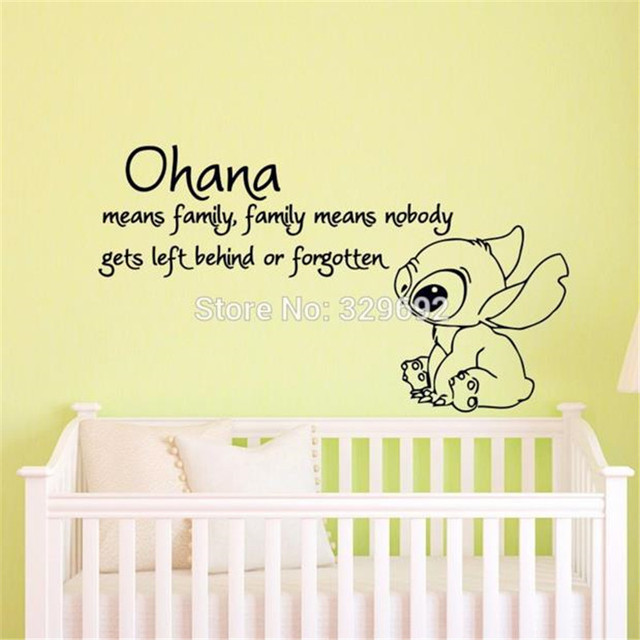 lilo and stitch quote ohana means family means cartoon vinyl wall