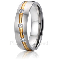 2016 OEM/ODM nice 3 cz bezel setting gold color engagement wedding rings