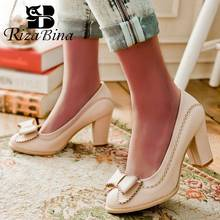 RizaBina Big Size 34-43 Women Pumps Sweet Bowtie High Heels