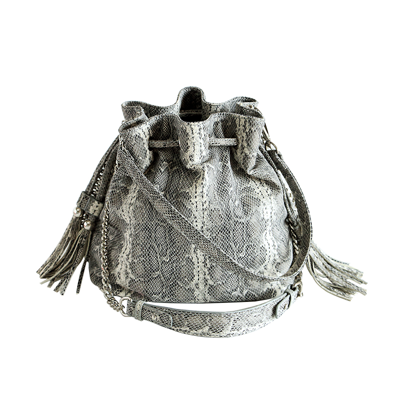 Brand Canvas Handbags Classic 3D Simulation Serpentine Print Shoulder Bag Lady Messenger Bag For Women Female Bucket Bag 998 coconut tree print bucket bag