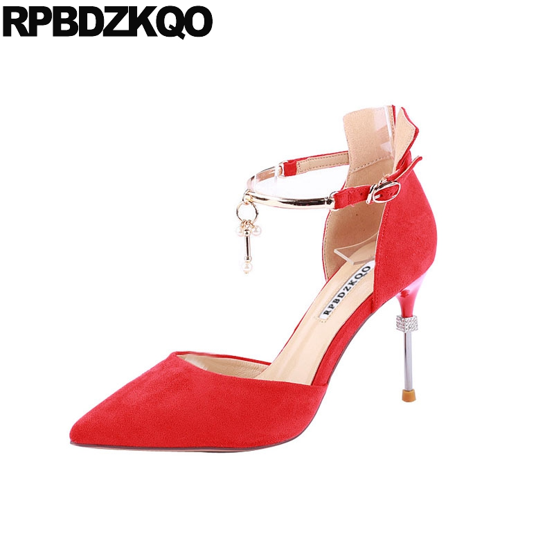2018 black summer pumps high heels sandals scarpin red shoes thin metal suede ankle strap dorsay women pointed toe size 4 342018 black summer pumps high heels sandals scarpin red shoes thin metal suede ankle strap dorsay women pointed toe size 4 34