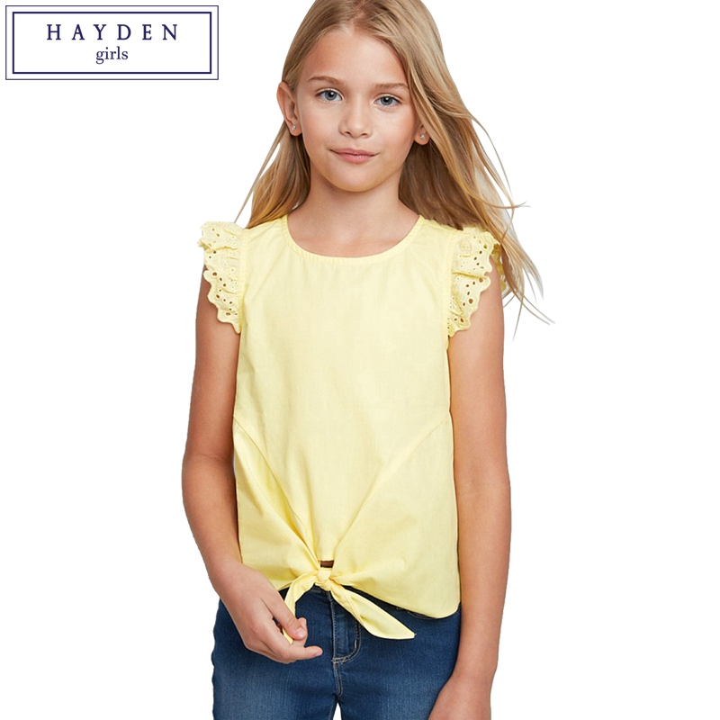 HAYDEN Girls Summer Tops for Teen Girl Tshirt Sommer 2018 New Arrival Solid White Ruffle Sleeve Cotton Tops Size 8 10 12 14