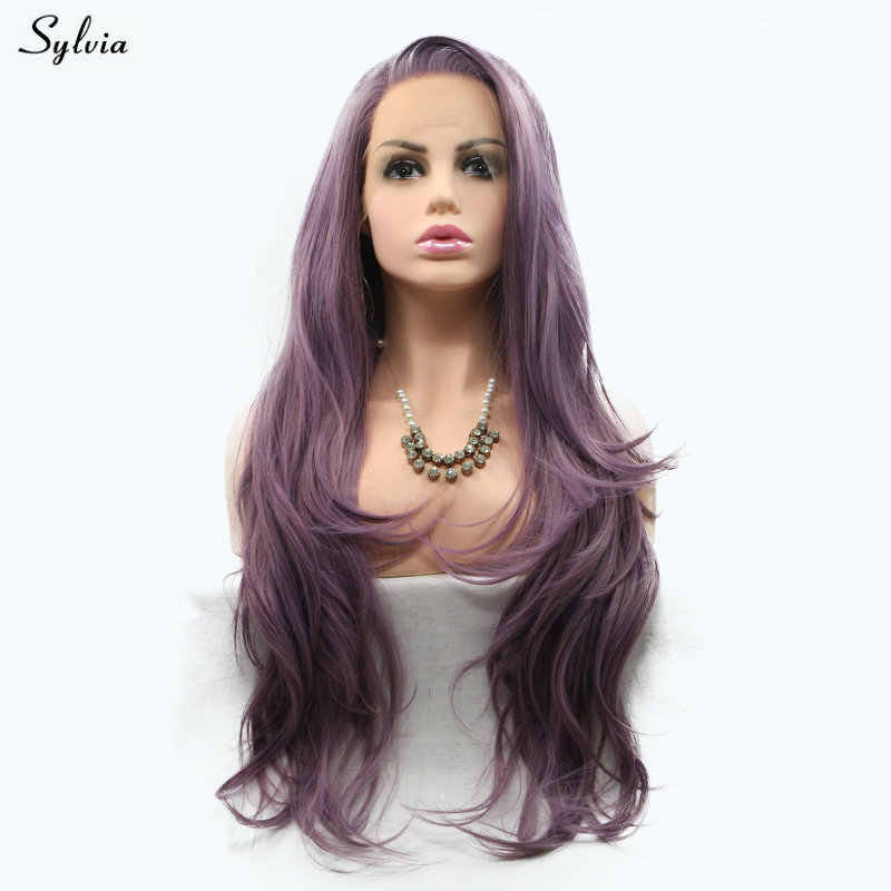 Sylvia Natural Wavy Mixed Purple Color Side Parted Hair Milky Lavender/Lilac Synthetic Lace Front Wigs For Women Cosplay Makeup