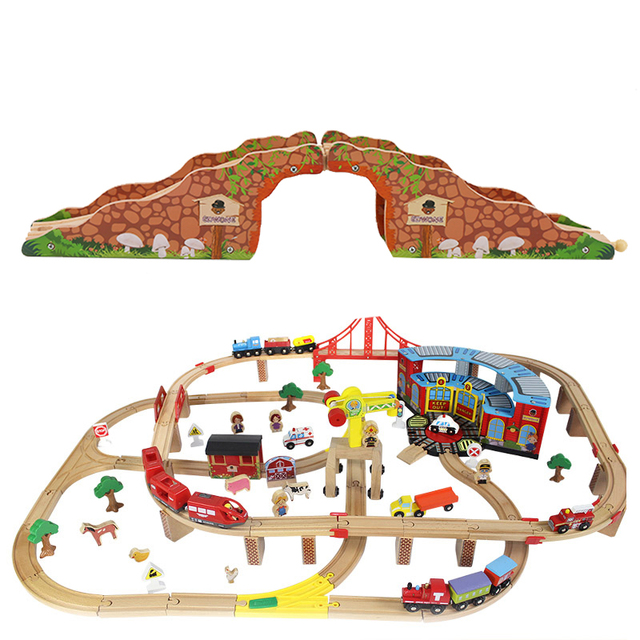 Rail Bridge Toys Wooden Train Track Educational Railway Caves blocks Accessories Toys For Children