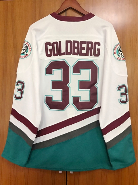 EJ Mighty Ducks Movie Jersey #33 Greg Goldberg Hockey Jersey Stitched All Sewn White