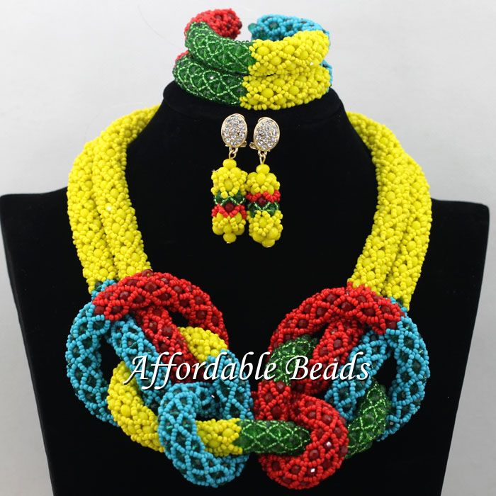 Handmade African Crystal Beads Set Pretty Dubai Gold Jewelry Set New Items Wholesale Free Shipping NCD005Handmade African Crystal Beads Set Pretty Dubai Gold Jewelry Set New Items Wholesale Free Shipping NCD005