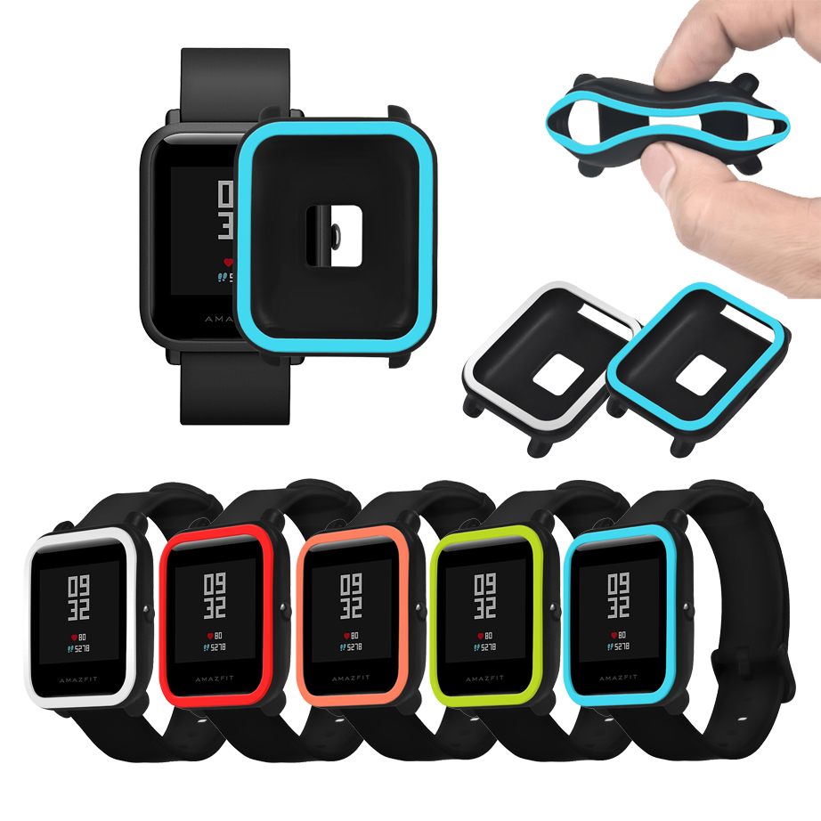 Protective Case For Xiaomi Amazfit Bip Youth Watch Soft Silicone Shell For Amazfit Bit Cover Frame Bumper Protector Accessories