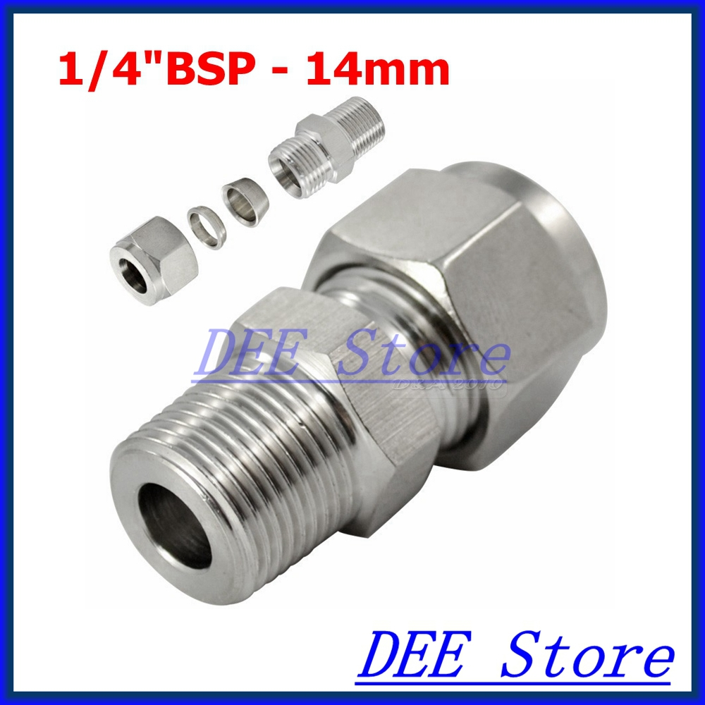 2PCS 1/4BSP x 14MM Double Ferrule Tube Pipe Fittings Threaded Male Connector Stainless Steel SS 304 New Good Quality brand new 1 5 male thread pipe fittings x 40 mm barb hose tail connector stainless steel ss304high quality