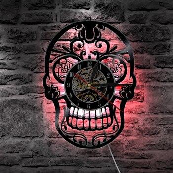 Horloge Déco Hip Hop Vinyle LED crâne Mexicain