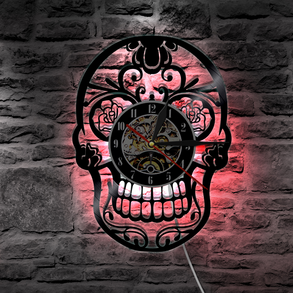 Reasonable 1piece Toxic Biohazard Zombie Gas Mask Skull Vinyl Clock Led Wall Light Remote Control Modern Art Backlight Living Room Interior Led Lamps Led Indoor Wall Lamps