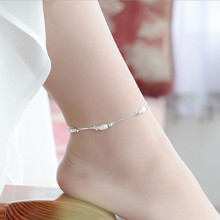 TJP Fashion Silver Frosted Ball Women Anklets Jewelry Top Quality 925 Girl Bracelets For Lady Princess Party Bijou Gift