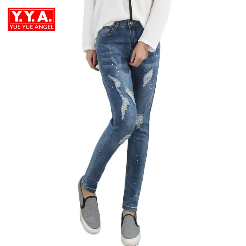 Stretch Slim Fit Hole Ripped Jeans Woman High Waist Korean Denim Pencil Pants Retro Washed Womens Skinny Jeans Large Size L-5XL