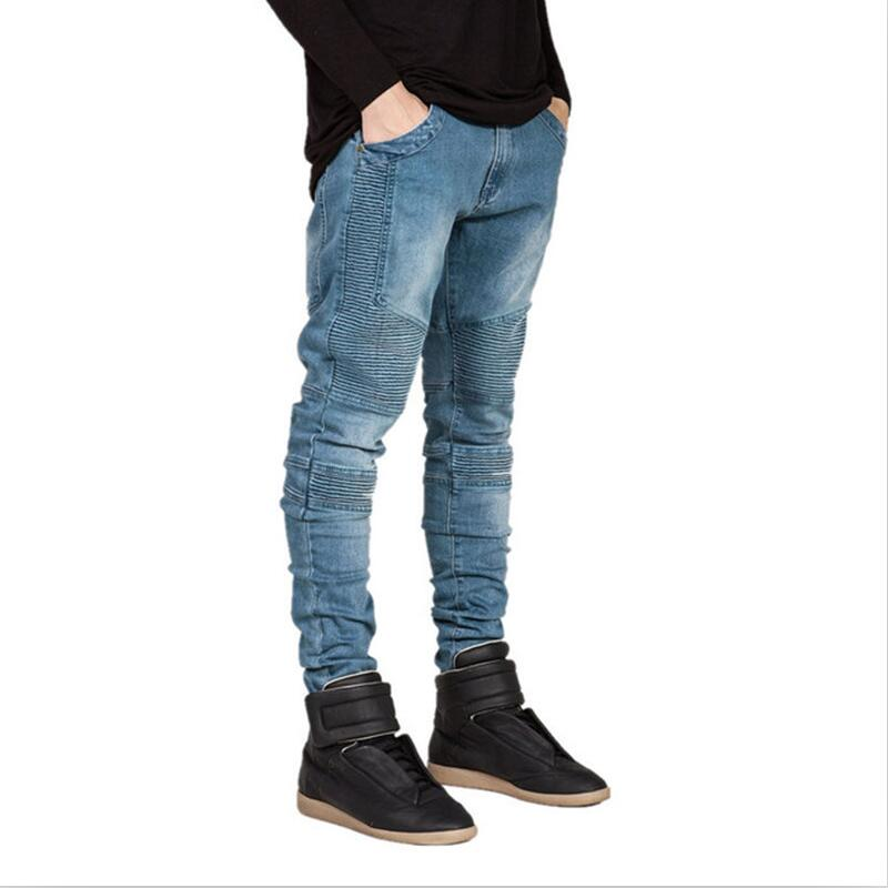 2018 New Men Denim   Jeans   Runway Slim Racer Biker   Jeans   Fashion Hip hop Skinny   Jeans   For Mens Skinny   jeans   pants