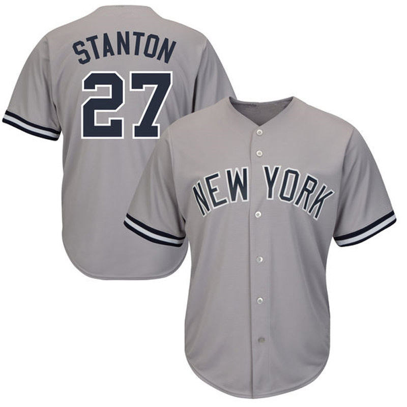Giancarlo Stanton Jersey 2018 New York Mens Embroidery Gray White Pinstripes Navy Baseball Jerseys brand baseball jerseys 28 s xx coolbase