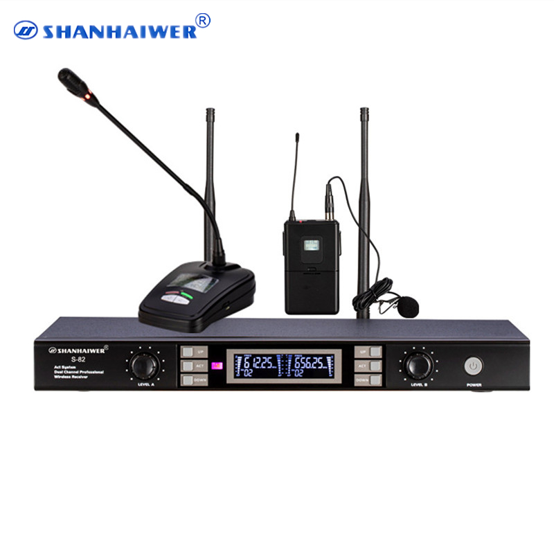 Factory price Dual Channels UHF Outdoor Widely Compatible Handheld Wireless Karaoke Microphone Speakers Lavalier Lapel microfono bardl us 132 2 channels uhf infrared frequency lcd 200 frequency adjustable wireless microphone handheld lavalier headset