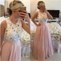 Elegant Pearl Pink  Long Evening Dresses Lace Evening Gowns With Plearl Chiffon Cheap Prom Gowns Party Dress 2017 Robe De Soiree