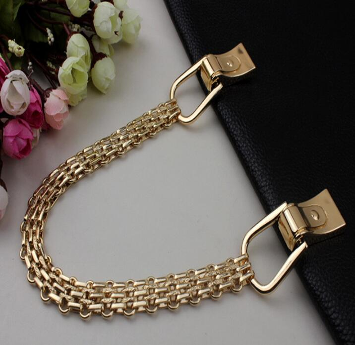 (2 PCS/lot) gold plating high-end DIY leather length 60 cm handbag aglet chain arm in arm handle decorative accessories 100 m lot 3 color plating high end diy width 4 mm leather handbag aglet fine chain decoration accessories