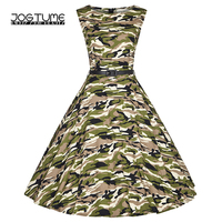 JOGTUME Camo Vintage Dresses Sleeveless 2017 Summer Women's Green Camouflage Vintage Gowns Dresses for Sale Plus Size (XS 4XL)