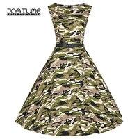 JOGTUME Camo Vintage Dresses Sleeveless 2017 Summer Women's Green Camouflage Vintage Gowns Dresses for Sale Plus Size (XS 4XL)