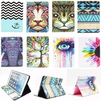 For Apple iPad 5 9.7'' Fashion Cartoon Elephant Flowers Owl Pattern PU Leather Flip Tablet Back Cover For iPad Air 1 iPad5 Coque