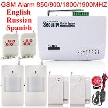 Новый 4 проводных зон Обороны, 6 беспроводных зон 433 мГц SIM главная Охранная Безопасности GSM Сигнализация! Реальный Голос России Spansih язык
