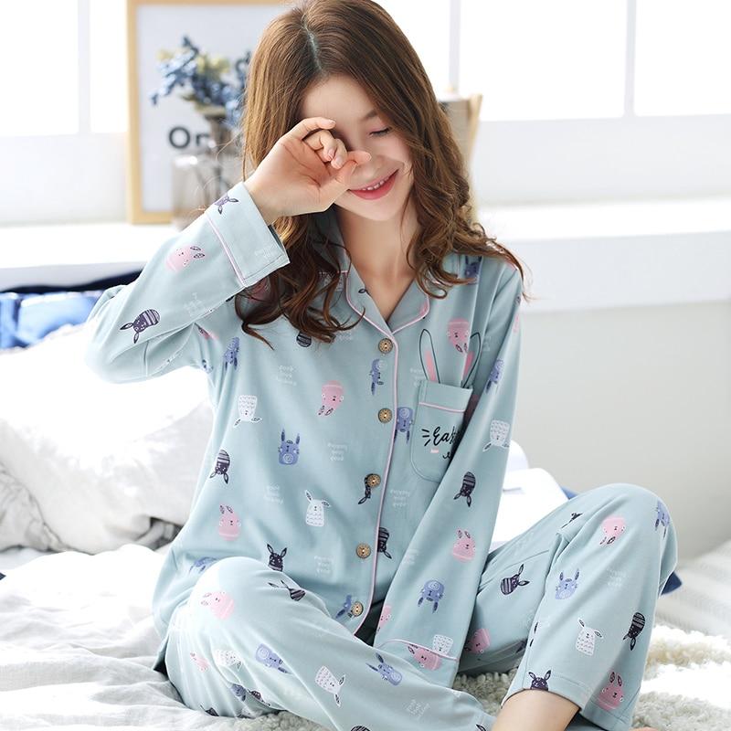 Long Sleeve Cotton Pajama Set 2018 Turn down Collar Sleepwear Spring Autumn Winter Women Pijama Mujer Cute Cartoon Pyjamas Femme-in Pajama Sets from Underwear & Sleepwears