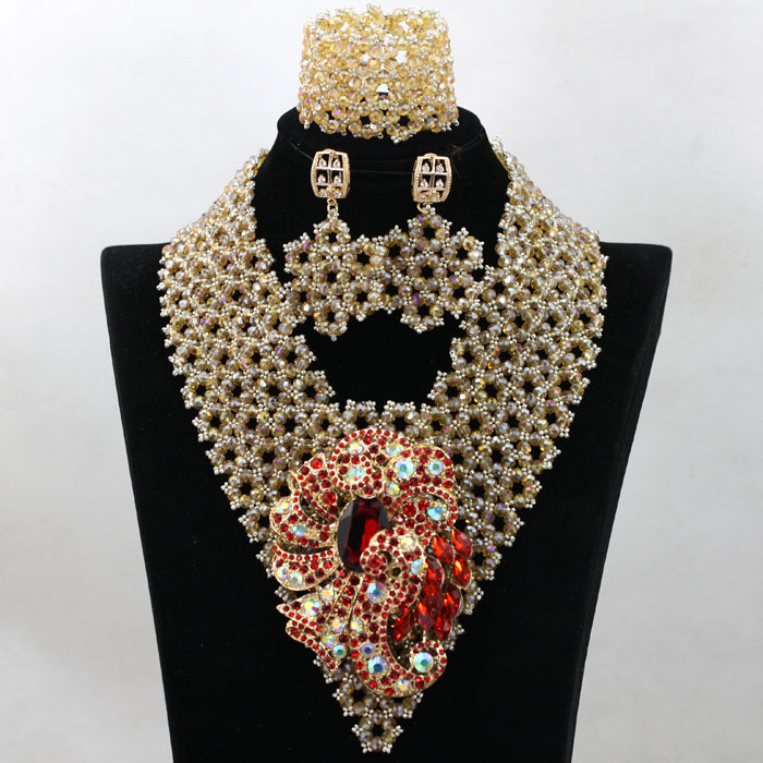 Trendy Champagne Indian Bridal Beads Jewellery Set Shiny Gold Nigerian Wedding Bib Statement Necklace Set Free