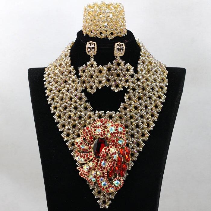 À la mode Champagne De Mariée Indienne Perles Bijoux Ensemble Brillant Or Nigérian Mariage Bib Déclaration Collier Set Livraison Gratuite QW049