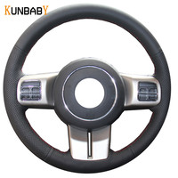 KUNBABY Car Styling Genuine Leather Car Steering Wheel Cover for Jeep Compass Grand Cherokee Wrangler Patriot 2012 2013 2014