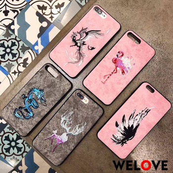New Luxury Leather Embroidery deer Flamingo Phone Case For iPhone 6 6S 7 8 Plus X XR XS Max cover For Samsung S9 S8 Plus not8 embroidery